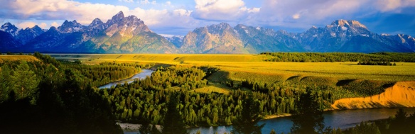 A shot showing the vast expanse of the Teton Range and the beauty of the park