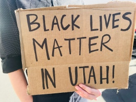 Protest sign at anti-Ben Shapiro rally on Sept. 27, 2017.(Photo by Faye Barnhurst)