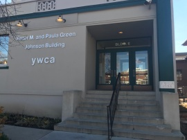 The entrance to the Young Women's Christian Association (YWCA), one of the nonprofit partners of the Even Stevens downtown location.