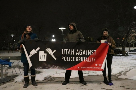 Utah Against Police Brutality protest the shooting of Abdi Mohamed on January 24, 2017. (Photo by Faye Barnhurst)
