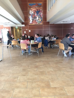 Customers dining between classes.