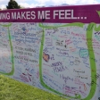 Participants had the opportunity to reflect on how running makes them feel before the race began.