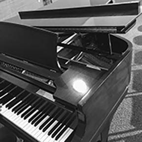 A sleek, black baby grand piano.