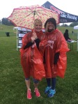 Rain or shine: Moreton poses with fellow board member Shelley Snow at the annual race.