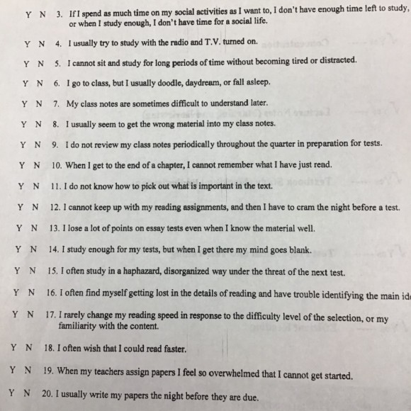 Sheet from the Learning Success Center.