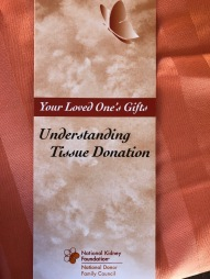 A pamphlet that Shelton received explaining the donation her daughter made.