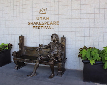 The William Shakespeare statue at the Engelstad Theater.