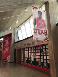 Donnie is featured on a banner that hangs in the Jon M. Huntsman Center.