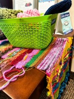 A knitting project by program participants.
