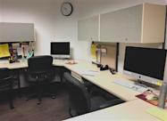 Photo by Hailey Danielson 2019   Desks in the Writing Center.